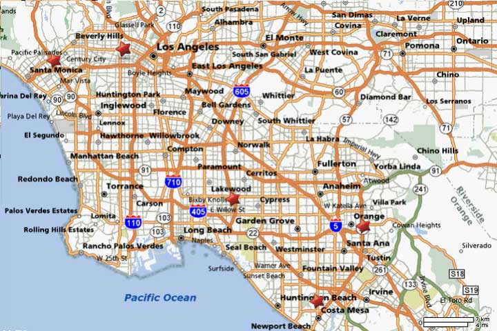 Los Angeles, California Bartending School Map