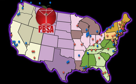 Map of our 36 Professional Bartending School Locations! Blue pins are additional bartending school locations of advertisers.
